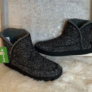 Sanuk Cush & Blaze Black Gray Tweed Ankle Booties